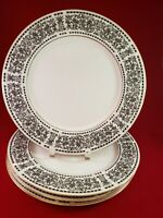 "WILSHIRE HOUSE FINE CHINA SPANISH SCROLL 1002  4 DINNER PLATES  10 3/8"" DIAMETER"