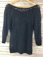 Guess Sheer Top S Small Black Lace Crochet Boho Hippie Shirt Coverup 3/4 C75