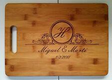 "Personalized Wedding Anniversary Christmas Bamboo Cutting Board 13 3/4"" x 9 3/4"