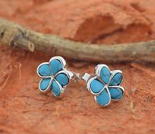 Turquoise Plumeria Earrings-Sterling Silver-Flower Studs,Hawaiian,Prom,Blue,New