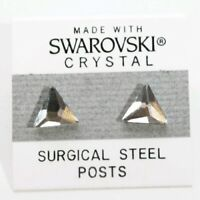 Silver Crystal Triangle Stud Earrings 10mm Made with Swarovski Elements