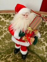 """Pier 1 19"""" Santa Clause Doll with Presents Faux Beard Blue Eyes Preowned"""