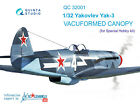 Quinta QC32001 1/32 Yak-3 vacuformed clear canopy for Special Hobby kit
