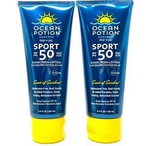 Ocean Potion Sport SPF 50 Sunscreen Lotion Scent Of Sunshine 3.4 Oz (2 Pack)