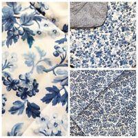 Vintage LAURA ASHLEY Bedding Comforter Queen Blue White Floral Print Reversible