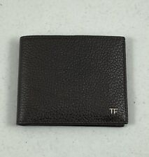 TOM FORD Grained Bi-Fold Leather Mens Wallet - Off Black - Brown/Silver Hardware