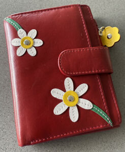 Mala Leather Wallet Red Flower Blossom Ladies Purse