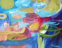 Mona Vivar blue abstract monet lilypad turquoise ocean modern art painting16x20