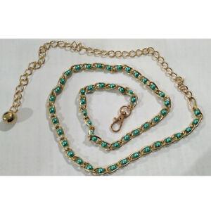 115CM Metal Thin Waist Belt Faux Pearl Beads Dress Body Chain Womens Chatelaine