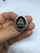 Eye Pyramid Men's Wedding Ring Gothic 925 Solid Sterling Silver Illuminati