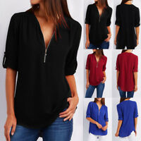 Women Casual Zipper V-Neck Tops T-Shirt Loose Long Sleeve Blouse Shirt Pullover