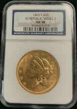 1863-S $20.00 GOLD LIBERTY SS REPUBLIC NGC AU-58
