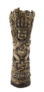 Figur Vase Tibetisch Mahakala Buddhistisches Tantrische Geschnitzt 25954