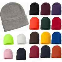 Sportsman 12 Inch Knit Beanie Stocking Cap Knit Hat New 17 Solid Colors SP12 PI