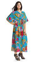 Anokhi Cotton Long Kaftan Fair Trade Indian Hand Printed Maxi Vintage Style