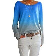 Damen Frauen Mode beiläufig Farbverlauf T-Shirt Lange Ärmel T-Shirt Tops