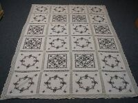 VTG WHITE COTTON TABLECLOTH w HAND EMBROIDERED CROSS STITCH BLACK ROSES 54x78