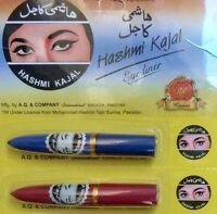 2 HASHMI KAJAL KOHL EYELINER EYE TUBE LINER BLACK NEW ORIGNAL STICKS MAKEUP NEW
