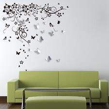 Walplus New Huge Butterfly Vine and 3D Mirror Butterflies Sticker Decorations