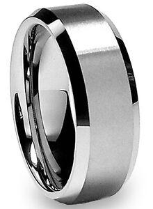 Finrezio 8mm Anillo Tungsteno para Hombres Negro Azul C/ómodo para la Boda Compromiso Todos los D/ías Tungsten Ring Tama/ño 16-25