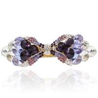 Purple Rhinestone Crystal Bowtie Barrette Gold Tone Hair Clip Fashion Party Gift