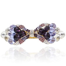 Purple Rhinestone Crystal Bowtie Barrette Gold Tone Hair Clip Fashion Party Gift