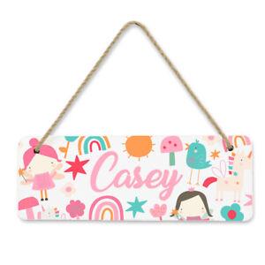Personalised Custom Fairy Girls Kids Children's Bedroom Door Hanger Sign 2