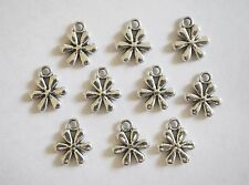 10 Metal Antique Silver Flower Charms - 13mm
