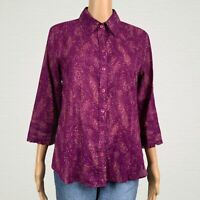Coldwater Creek Abstract Print Thin Button Up Shirt Top MEDIUM 10 12 Purple