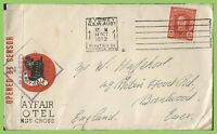 Australia 1942 Hotel Advertising cover with censor to England