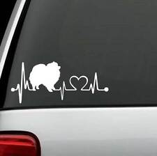 K1057 Pomeranian Heartbeat© Dog Decal Sticker Auto Window Art Pet Gift Accessory