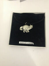 Birman Cat PP-C05 Pewter Pendant on a  BLACK CORD  Necklace