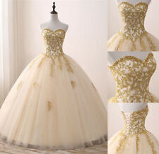 New Gold Appliques Quinceanera Dress Formal Sweet 16 Prom Party Pageant Gowns