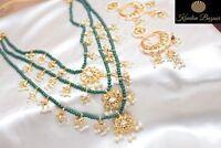 Indian Green Kundan Bridal Wedding Earing Necklace Bollywood Pearl Jewelry Box