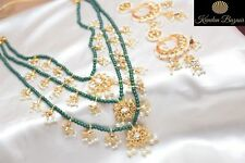 Indian Green Kundan Bridal Wedding Earing Necklace Bollywood Pearl Jewellery Box