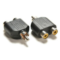 2x RCA Y Splitter Audio Video Plug Converter 1-Male to 2-Female Cable AdapterWA