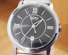 Mens XL Black Minimalist Analog Hugo Boss Adjustable Mesh Bracelet Gents Watch