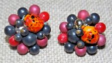 VINTAGE COLORFUL SPECKLED ART GLASS & LUCITE CLUSTER CLIP ON EARRINGS