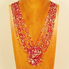 "16"" Pink Gold Stone Chip Cluster Handmade Seed Bead Necklace FREE SHIPPING!"