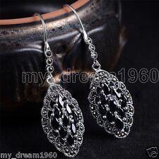Fashion Lady Women's 925 Sterling Silver Black Agate Marcasite Dangle Earrings