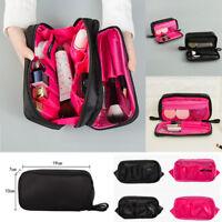 Salons Double Zipper Cosmetic Makeup Brush Bag Case Organizer Nylon Storage Kit