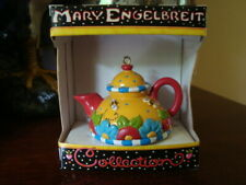 Mary Engelbreit Collection Tea Ketttle Ornament Yellow Red w/box Vgc