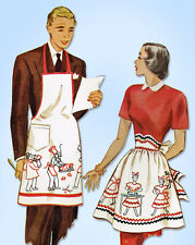 1940s Vintage McCall Sewing Pattern 1481 Uncut Mr and Mrs Apron Set Fits ALL