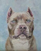 "dog ""Pitbull"" original canvas panel painting, portrait 10x8"""