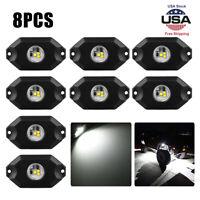 8pcs White Rock Lights LED Dome lights Off-Road Under Car Light Lamp Bulb Bright