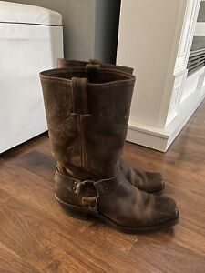 Frye 700 Womens 10 M Harness 12R Brown Leather Boots Square Toe O-Ring Biker