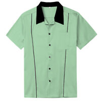 Mens Shirts Plus Size Cotton Top Rockabilly Clothing Mint Green
