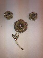 Vtg Sarah Coventry LARGE Flower Rhinestone Filigree Pin Brooch Clip Earrings Set