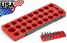 "Hansen 3/8"" Drive Torx & Hex Socket Organizer Tray Rack Holder Metric SAE USA"