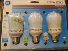 Pack of 3 GE 15W CFL Energy Smart Bulb Equivalent to 60W, 825 Lumens, Warm White